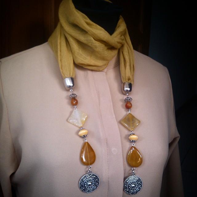 Scarfy Necklace Yellow number 2 Http://koleksikikie.com/toko Rp110.000  #kalunghandmade #kalung #manikmanik #handmadenecklace #handmadeaccesories #accesories #jualkalung #instapict #instatoday