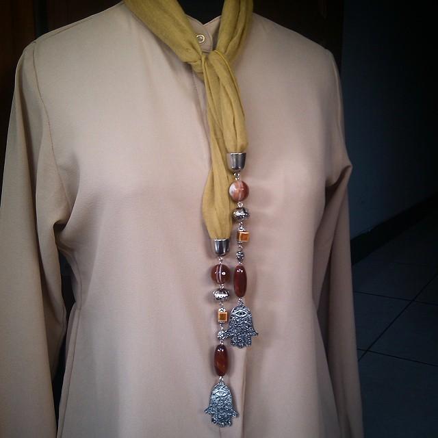 Another Scarfy Necklace  Yellow number 3 Rp110.000 Http://koleksikikie.com  #beads #handmadenecklace #kalunghandmade #koleksikikie