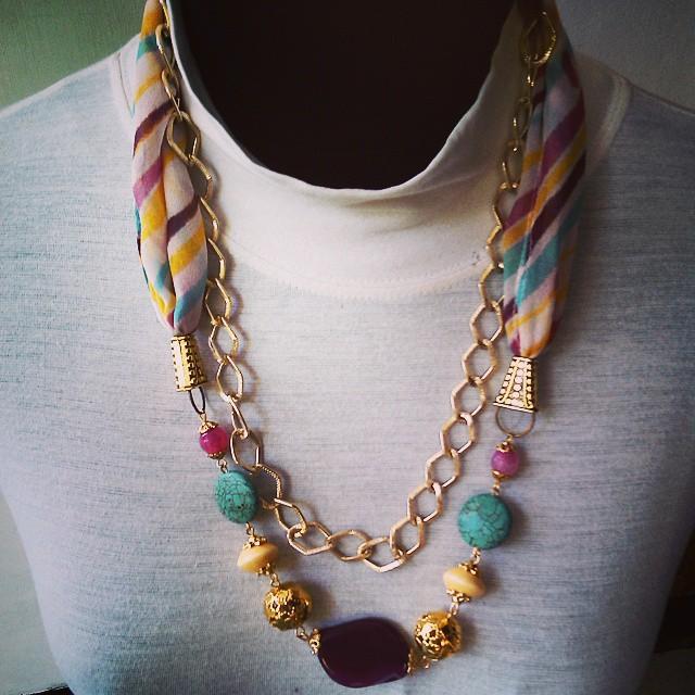 Rainbow Silk Scarfy Necklace Rp325.000 Http://koleksikikie.com/toko  #silk #silkpainting #tjipliesilk #handmadenecklace #handmadeaccesories #accesories #koleksikikie #kalunghandmade #kalung #aksesorihijab #instapict
